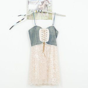 Voll Sleeveless Denim+Lace+Tulle Tie Front Dress